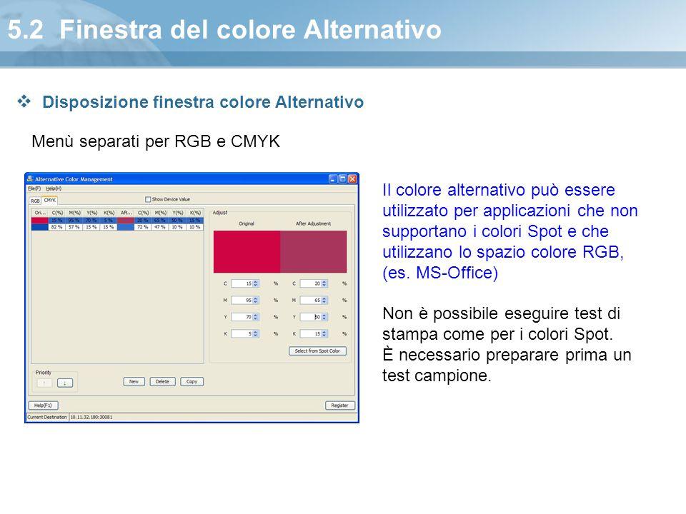 5.2 Finestra del colore Alternativo Menù separati per RGB e CMYK Il colore alternativo può essere utilizzato per applicazioni che non supportano i col