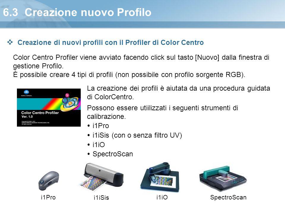 6.3 Creazione nuovo Profilo Color Centro Profiler viene avviato facendo click sul tasto [Nuovo] dalla finestra di gestione Profilo. È possibile creare