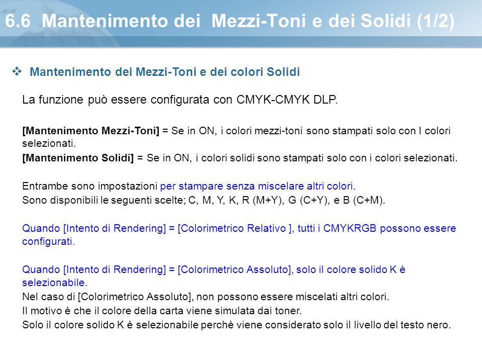 6.6 Mantenimento dei Mezzi-Toni e dei Solidi (1/2) La funzione può essere configurata con CMYK-CMYK DLP. [Mantenimento Mezzi-Toni] = Se in ON, i color