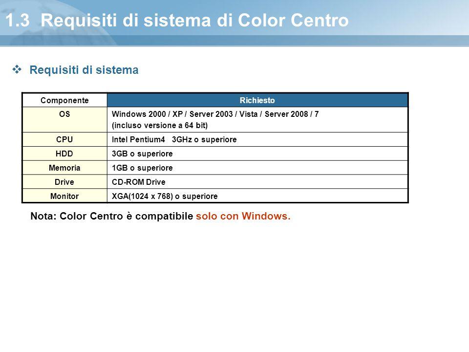 1.3 Requisiti di sistema di Color Centro ComponenteRichiesto OSWindows 2000 / XP / Server 2003 / Vista / Server 2008 / 7 (incluso versione a 64 bit) C