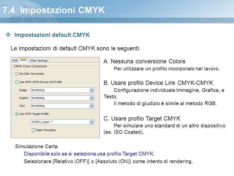 7.4 Impostazioni CMYK Le impostazioni di default CMYK sono le seguenti. A. Nessuna conversione Colore Per utilizzare un profilo incorporato nel lavoro