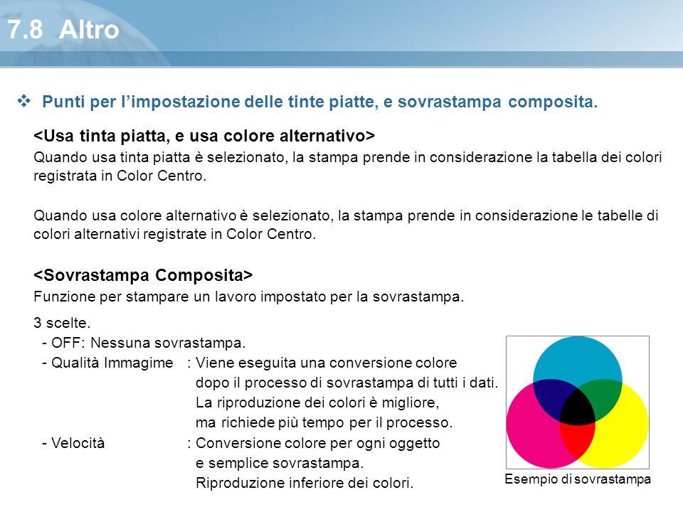 7.8 Altro Quando usa tinta piatta è selezionato, la stampa prende in considerazione la tabella dei colori registrata in Color Centro. Quando usa color