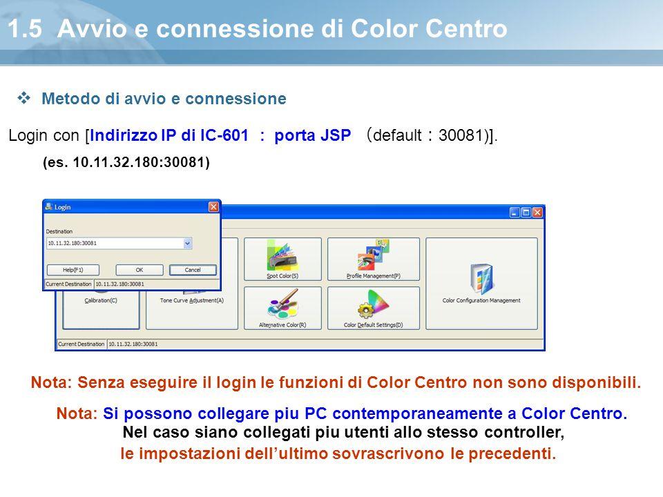 1.5 Avvio e connessione di Color Centro Login con [Indirizzo IP di IC-601 : porta JSP ( default : 30081)]. (es. 10.11.32.180:30081) Nota: Senza esegui