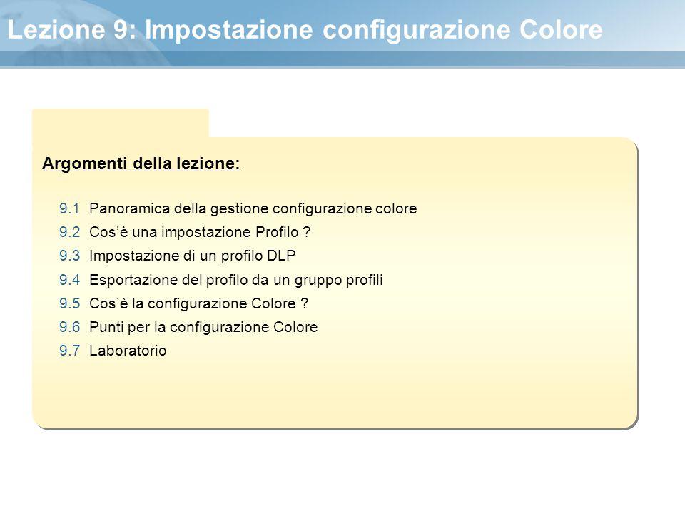 Argomenti della lezione: Lezione 9: Impostazione configurazione Colore 9.1 Panoramica della gestione configurazione colore 9.2 Cos'è una impostazione