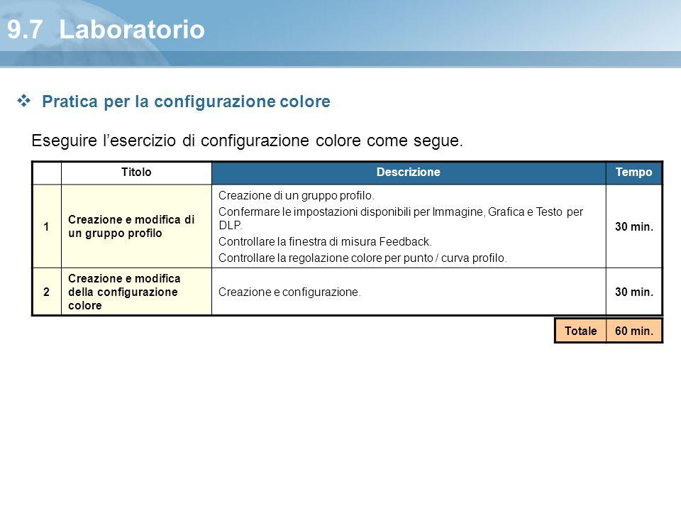 9.7 Laboratorio Eseguire l'esercizio di configurazione colore come segue. TitoloDescrizioneTempo 1 Creazione e modifica di un gruppo profilo Creazione