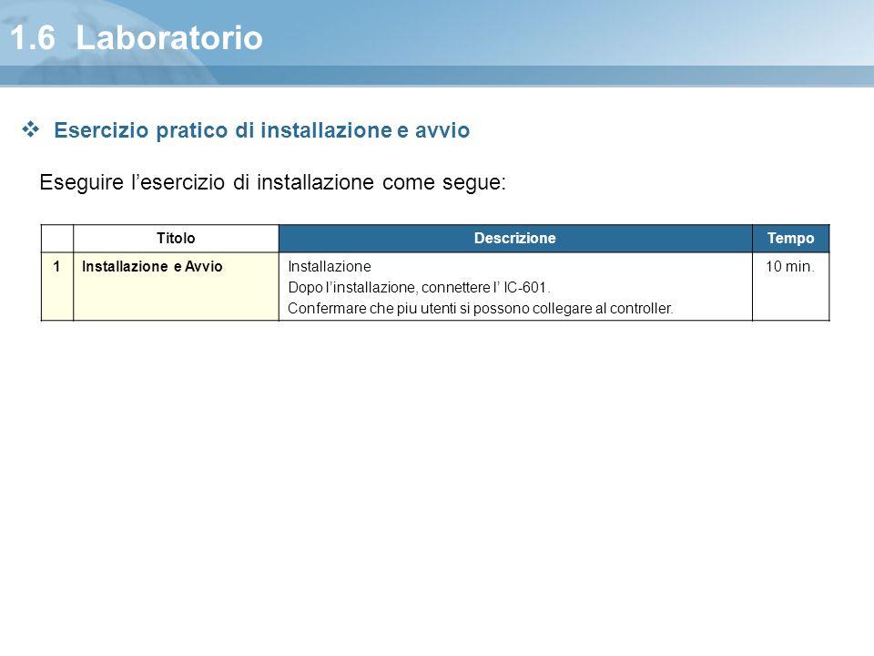 1.6 Laboratorio Eseguire l'esercizio di installazione come segue: TitoloDescrizioneTempo 1Installazione e AvvioInstallazione Dopo l'installazione, con