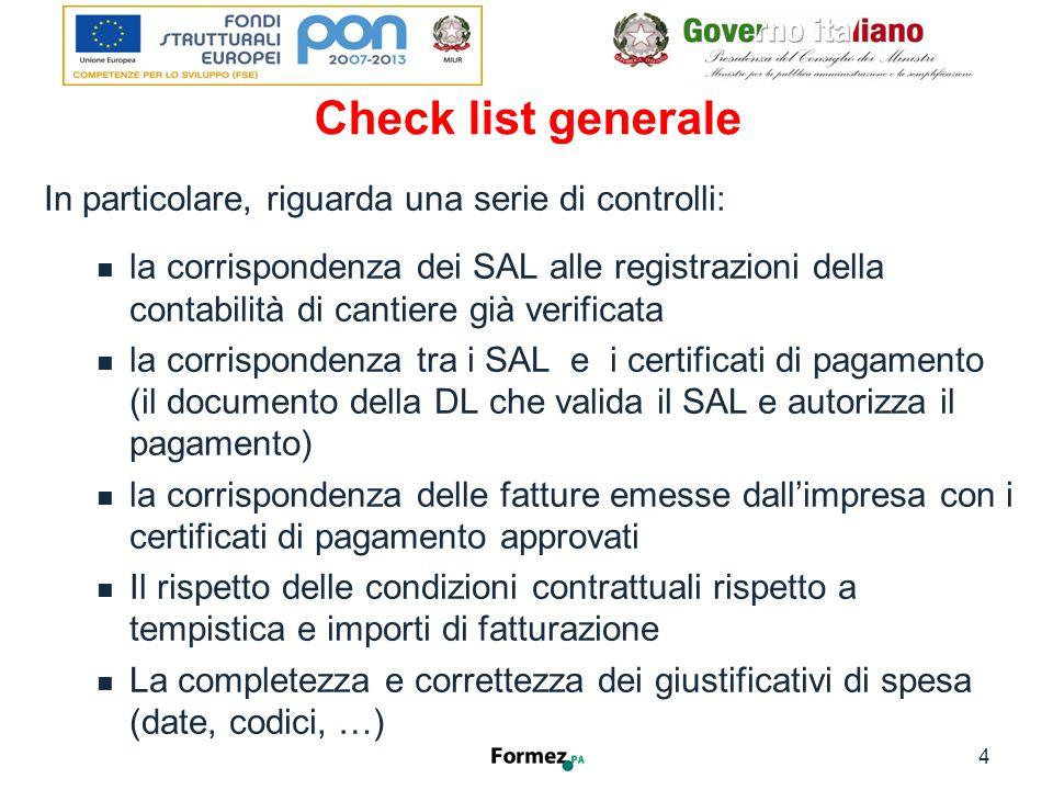 Check list generale 5 I - Verifiche contabili e finanziarie Verifiche Presente Conforme SiNoSiNo I.1SAL relativi ai lavori eseguiti I.2Sono riconducibili ai lavori approvati nel Piano.