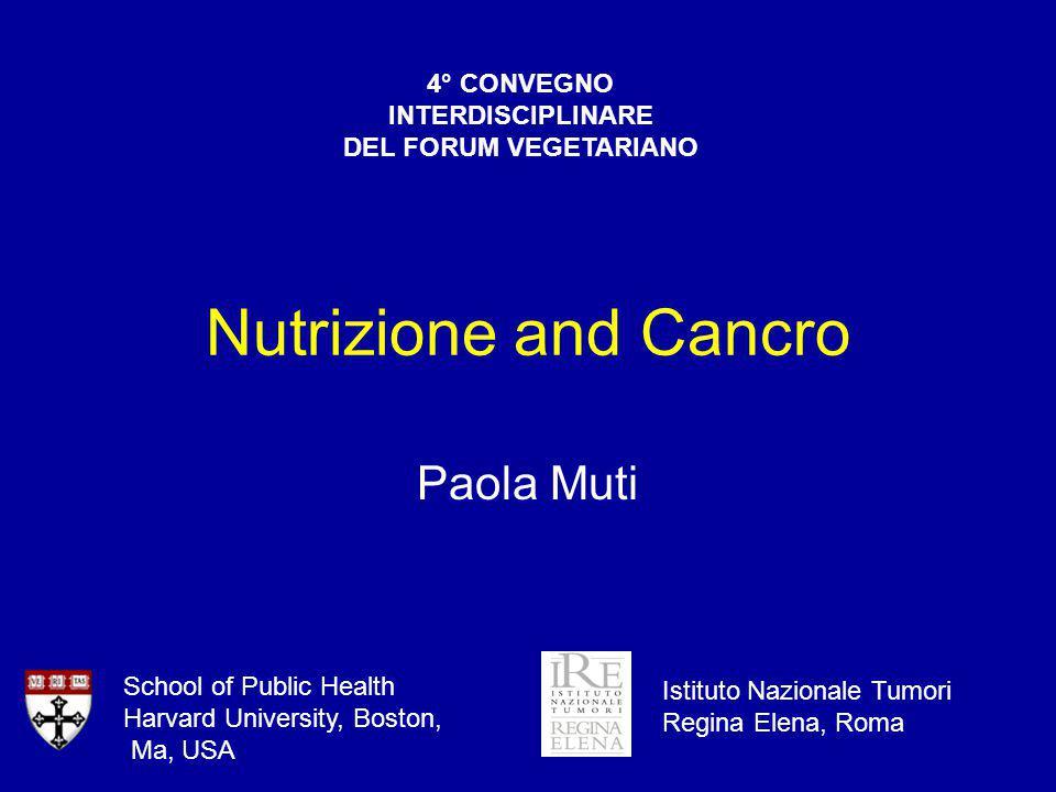 Contenuti Dati osservazionali Dieta e tumori Stile di vita e tumori Prospettive di prevenzione