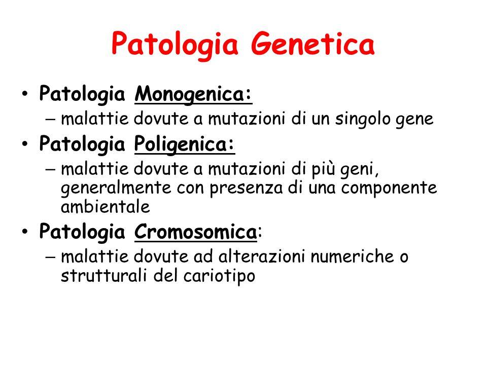 Patologia Genetica Patologia Monogenica: – malattie dovute a mutazioni di un singolo gene Patologia Poligenica: – malattie dovute a mutazioni di più g