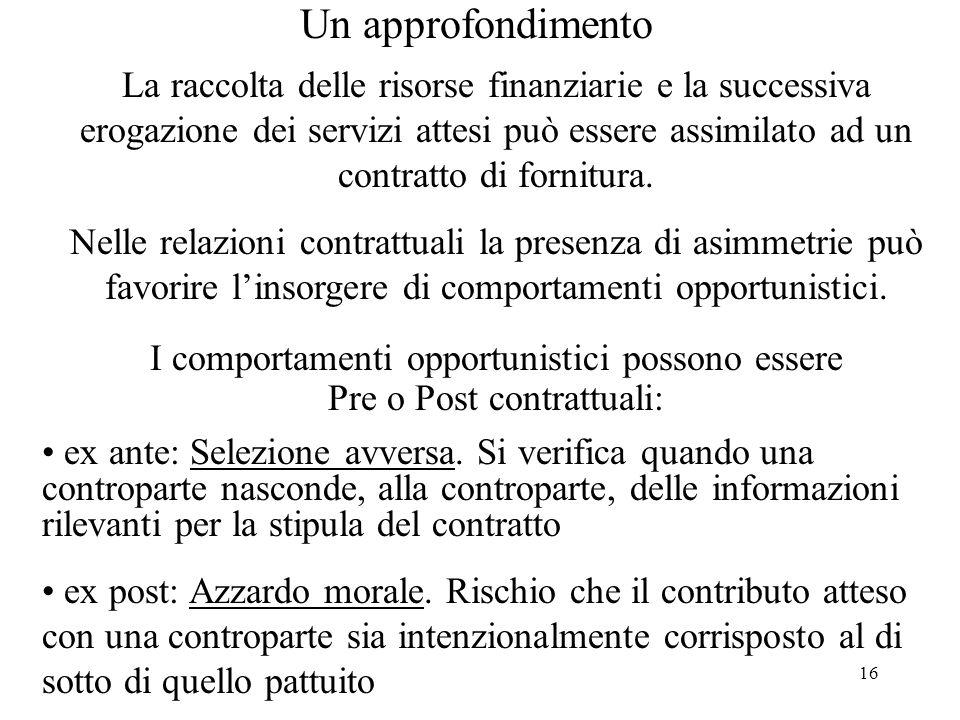 16 La raccolta delle risorse finanziarie e la successiva erogazione dei servizi attesi può essere assimilato ad un contratto di fornitura. Nelle relaz