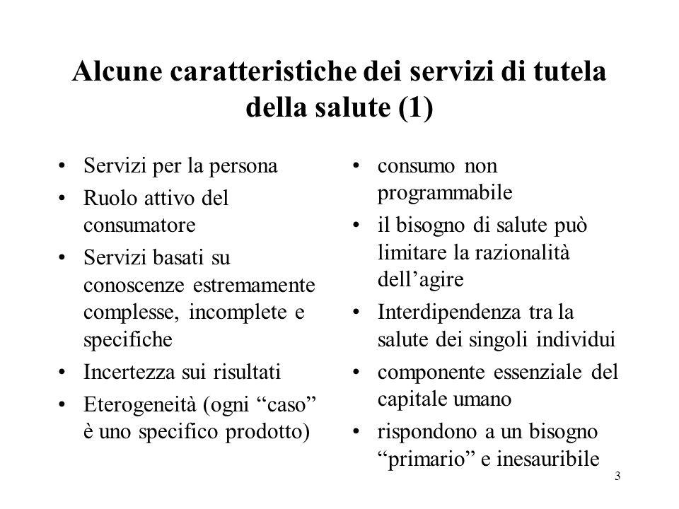 3 Alcune caratteristiche dei servizi di tutela della salute (1) Servizi per la persona Ruolo attivo del consumatore Servizi basati su conoscenze estre