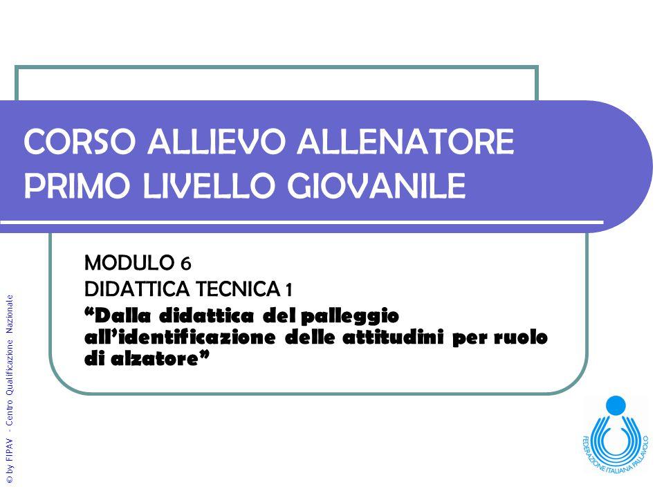 """© by FIPAV - Centro Qualificazione Nazionale CORSO ALLIEVO ALLENATORE PRIMO LIVELLO GIOVANILE MODULO 6 DIDATTICA TECNICA 1 """"Dalla didattica del palleg"""