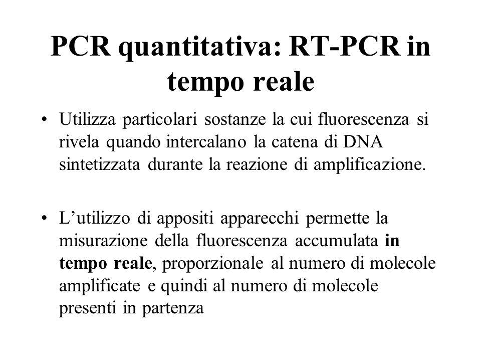 PCR quantitativa: RT-PCR in tempo reale Utilizza particolari sostanze la cui fluorescenza si rivela quando intercalano la catena di DNA sintetizzata d
