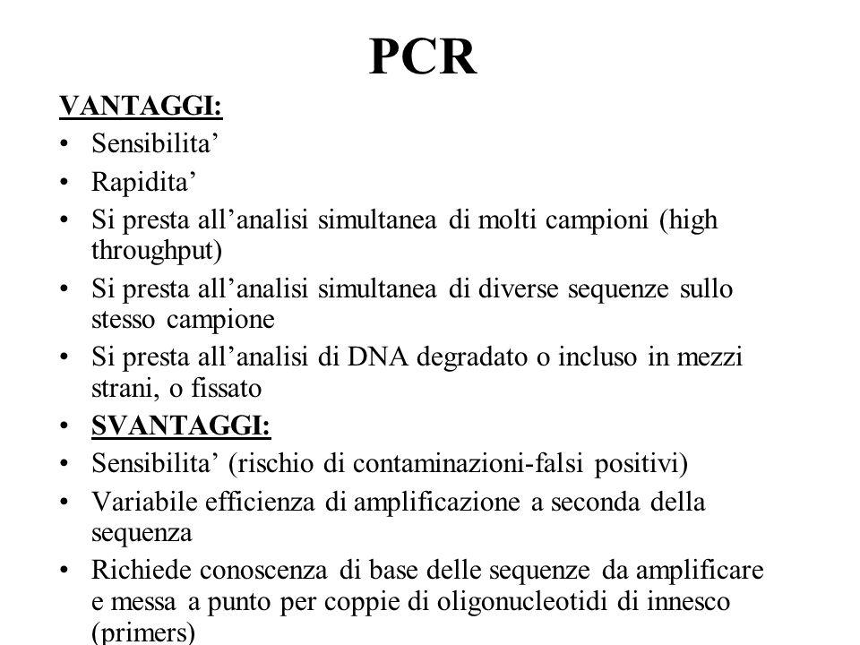 PCR VANTAGGI: Sensibilita' Rapidita' Si presta all'analisi simultanea di molti campioni (high throughput) Si presta all'analisi simultanea di diverse