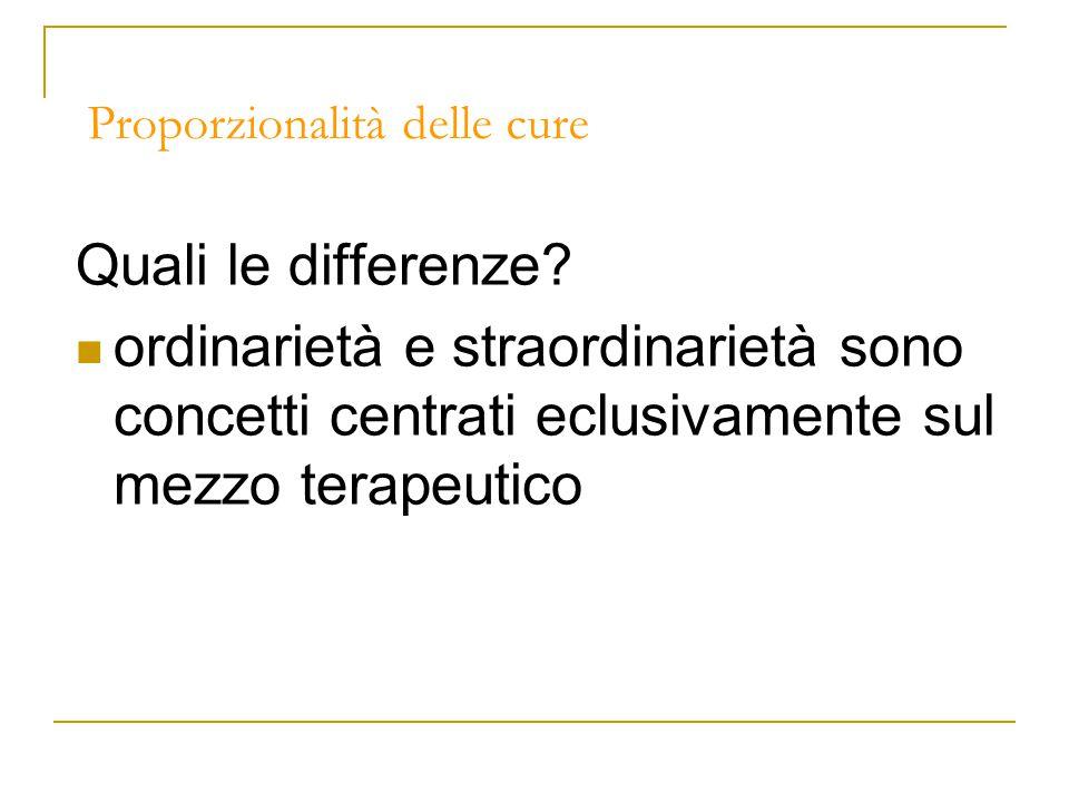 Proporzionalità delle cure Quali le differenze.