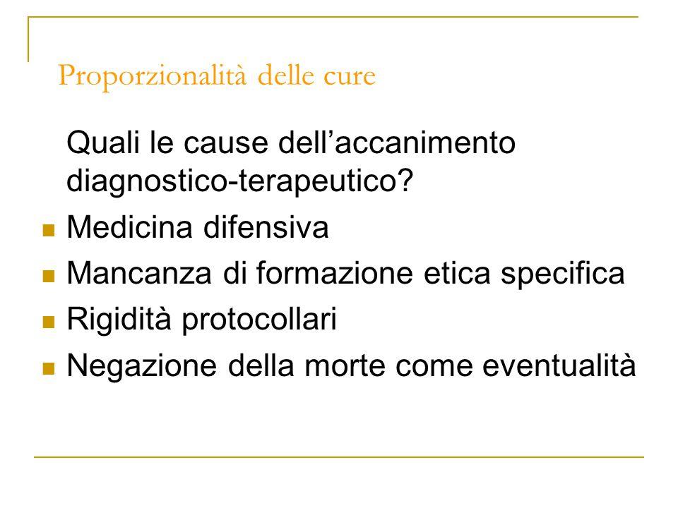 Proporzionalità delle cure Quali le cause dell'accanimento diagnostico-terapeutico.
