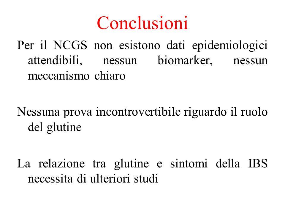 Conclusioni Per il NCGS non esistono dati epidemiologici attendibili, nessun biomarker, nessun meccanismo chiaro Nessuna prova incontrovertibile rigua