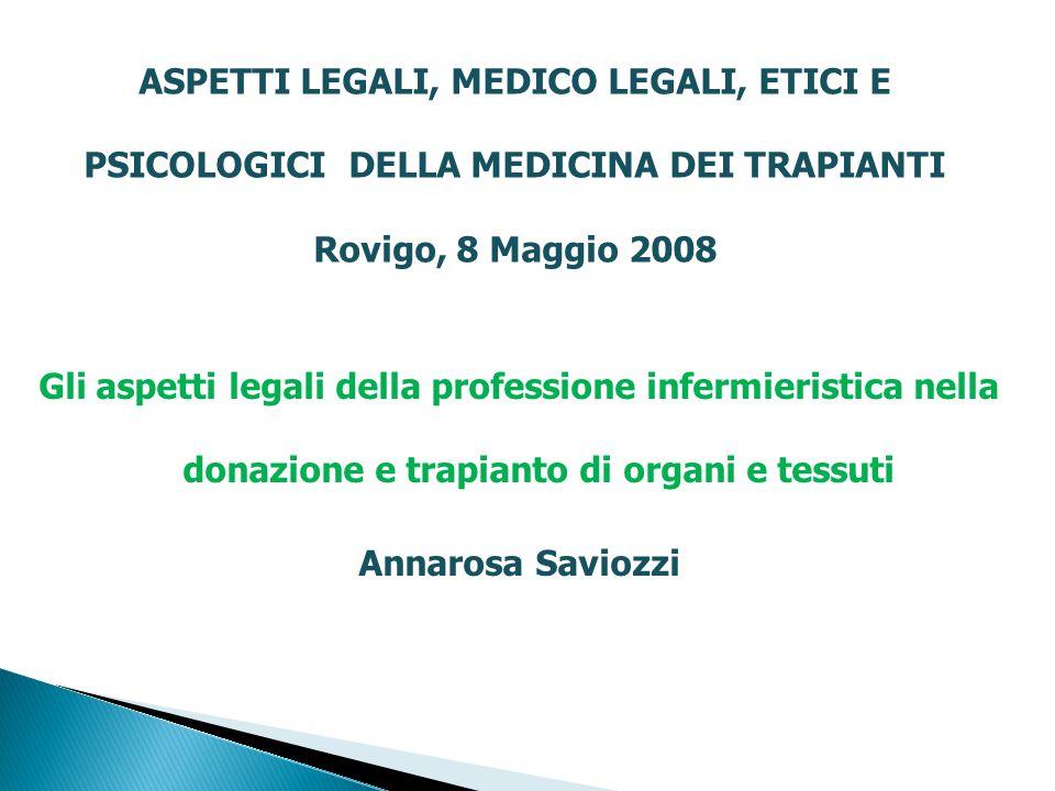 ASPETTI LEGALI, MEDICO LEGALI, ETICI E PSICOLOGICI DELLA MEDICINA DEI TRAPIANTI Rovigo, 8 Maggio 2008 Gli aspetti legali della professione infermieris