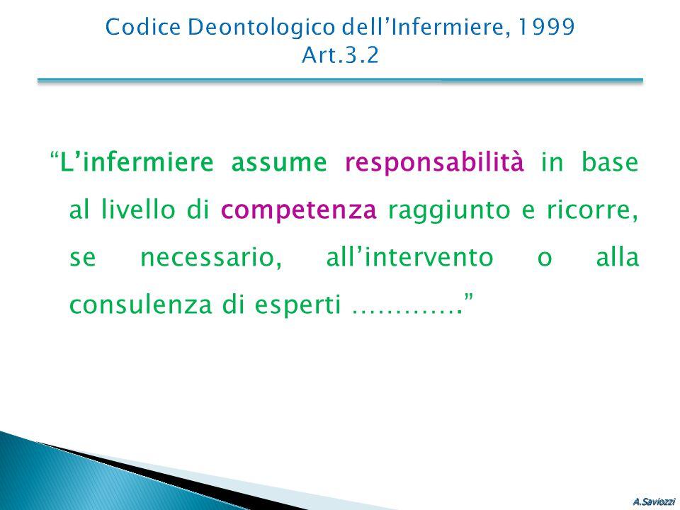 """""""L'infermiere assume responsabilità in base al livello di competenza raggiunto e ricorre, se necessario, all'intervento o alla consulenza di esperti …"""