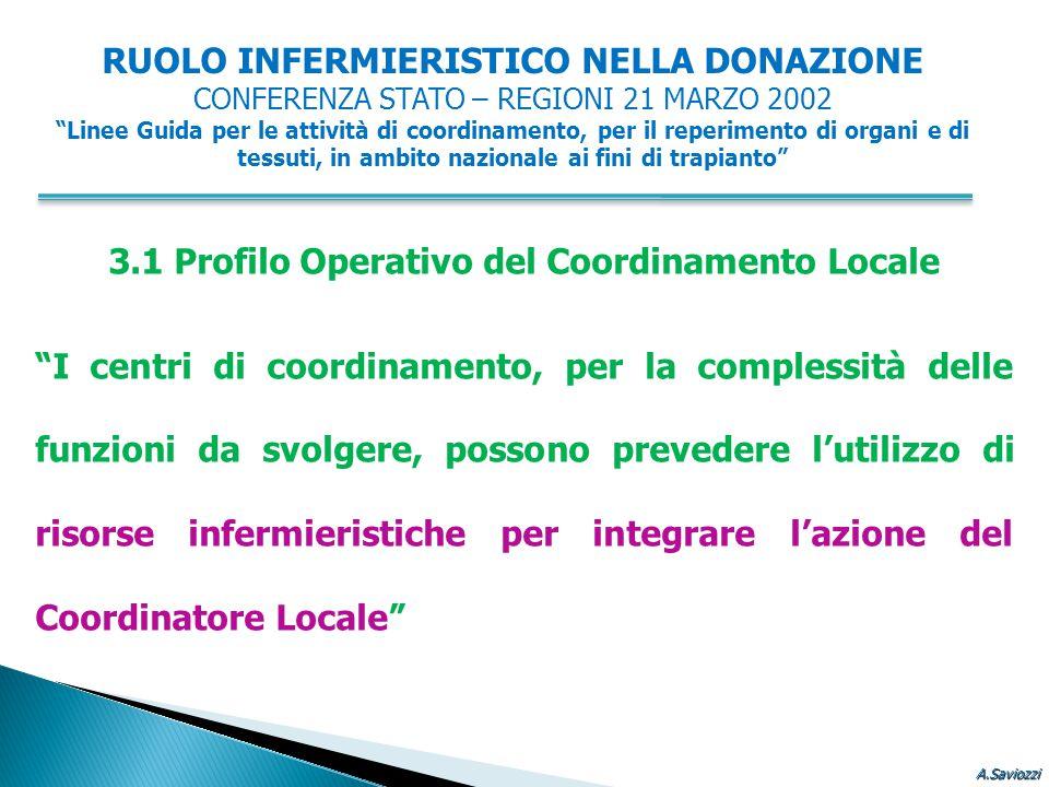 """3.1 Profilo Operativo del Coordinamento Locale """"I centri di coordinamento, per la complessità delle funzioni da svolgere, possono prevedere l'utilizzo"""