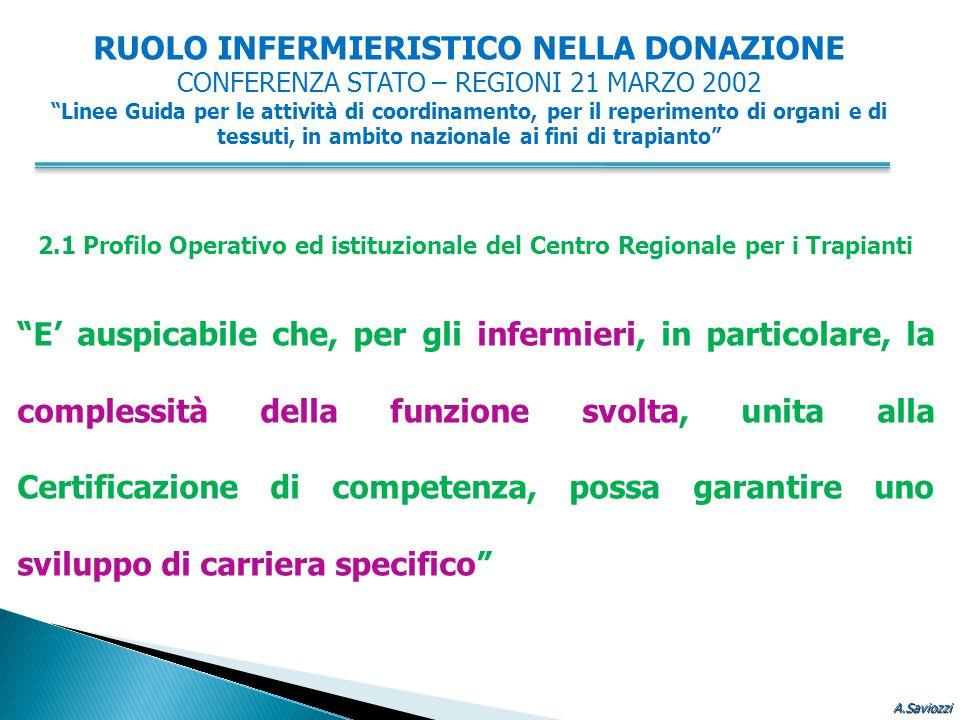 """2.1 Profilo Operativo ed istituzionale del Centro Regionale per i Trapianti """"E' auspicabile che, per gli infermieri, in particolare, la complessità de"""