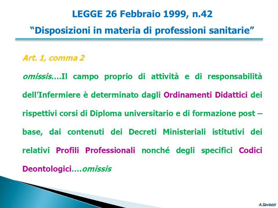 Art. 1, comma 2 omissis….Il campo proprio di attività e di responsabilità dell'Infermiere è determinato dagli Ordinamenti Didattici dei rispettivi cor