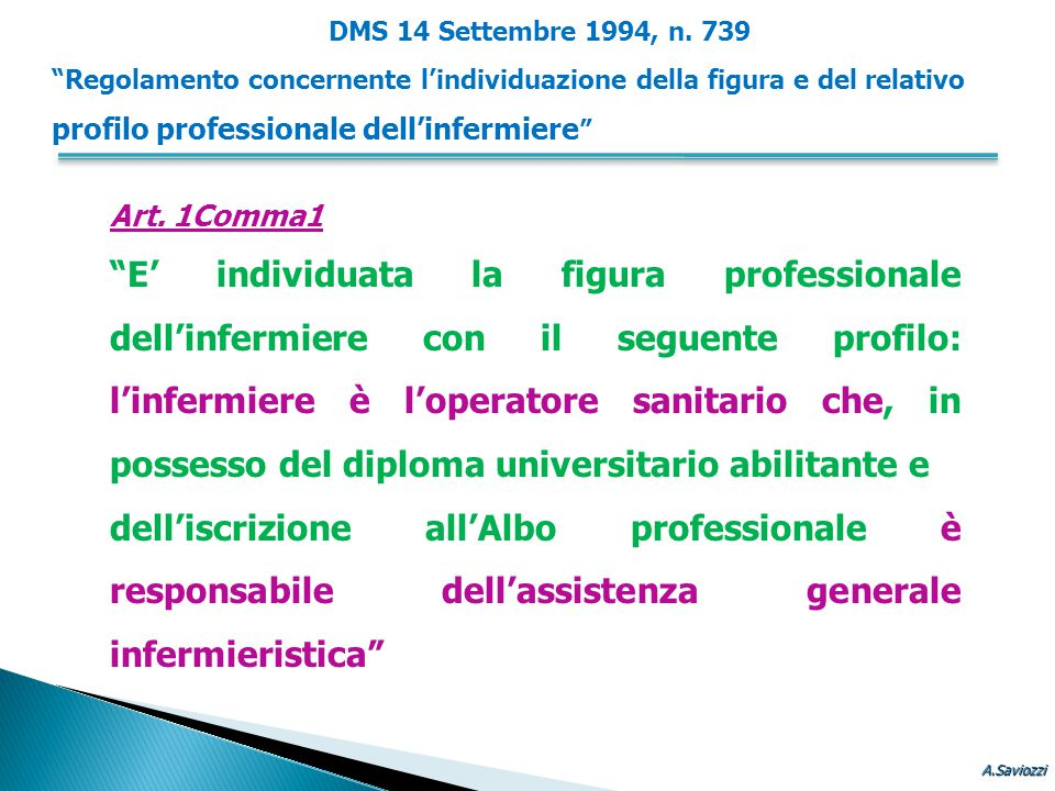 """Art. 1Comma1 """"E' individuata la figura professionale dell'infermiere con il seguente profilo: l'infermiere è l'operatore sanitario che, in possesso de"""