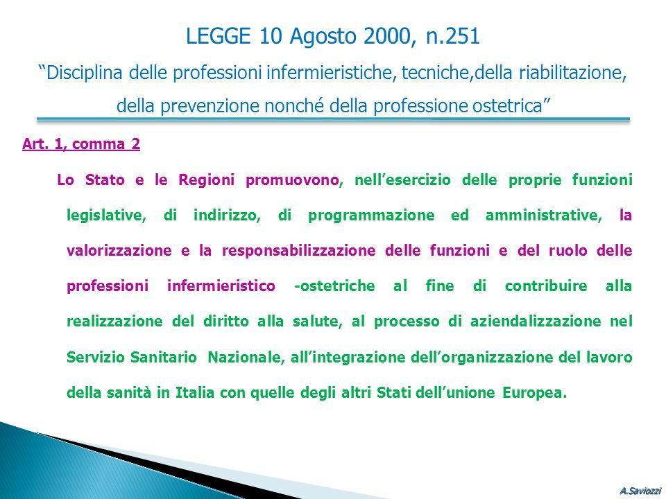 """LEGGE 10 Agosto 2000, n.251 """"Disciplina delle professioni infermieristiche, tecniche,della riabilitazione, della prevenzione nonché della professione"""