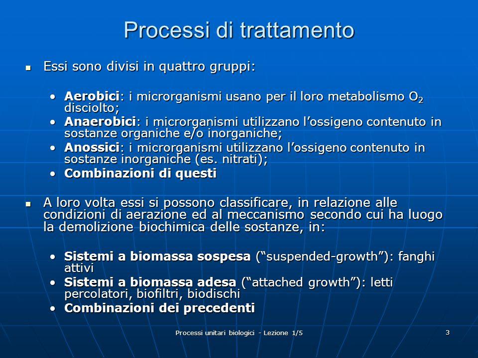 Processi unitari biologici - Lezione 1/5 34 Analisi del processo: CSTR senza ricircolo Con riferimento ad un reattore CSTR senza ricircolo l'equazione di continuità è: Accumulo = ingresso – uscita + crescita netta Il bilancio dei microrganismi può essere scritto come: V (dX/dt) = QX 0 – QX + Vr' g Dove:dX/dt=velocità di crescita dei microrganismi [VSS volume - 1 tempo -1 ] V=volume di reazione [volume] Q=portata [volume tempo -1 ] X 0 =concentrazione di microrganismi nell'influente [VSS volume -1 ] X=concentrazione di microrganismi nel reattore [VSS volume -1 ] Q, S 0, X 0 X, V, S Q, S, X