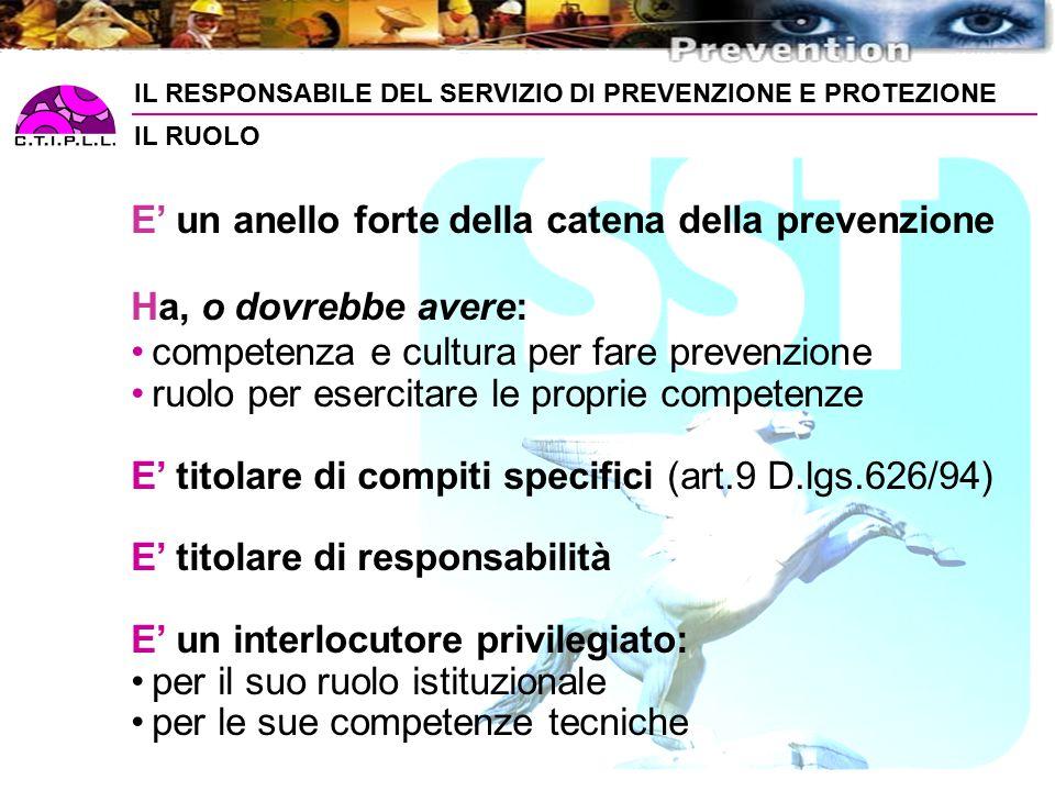 IL RESPONSABILE DEL SERVIZIO DI PREVENZIONE E PROTEZIONE IL RUOLO E' un anello forte della catena della prevenzione Ha, o dovrebbe avere: competenza e cultura per fare prevenzione ruolo per esercitare le proprie competenze E' titolare di compiti specifici (art.9 D.lgs.626/94) E' titolare di responsabilità E' un interlocutore privilegiato: per il suo ruolo istituzionale per le sue competenze tecniche