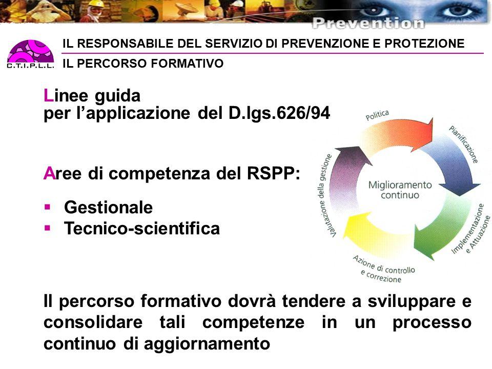 IL RESPONSABILE DEL SERVIZIO DI PREVENZIONE E PROTEZIONE IL PERCORSO FORMATIVO Linee guida per l'applicazione del D.lgs.626/94 Aree di competenza del RSPP:  Gestionale  Tecnico-scientifica Il percorso formativo dovrà tendere a sviluppare e consolidare tali competenze in un processo continuo di aggiornamento