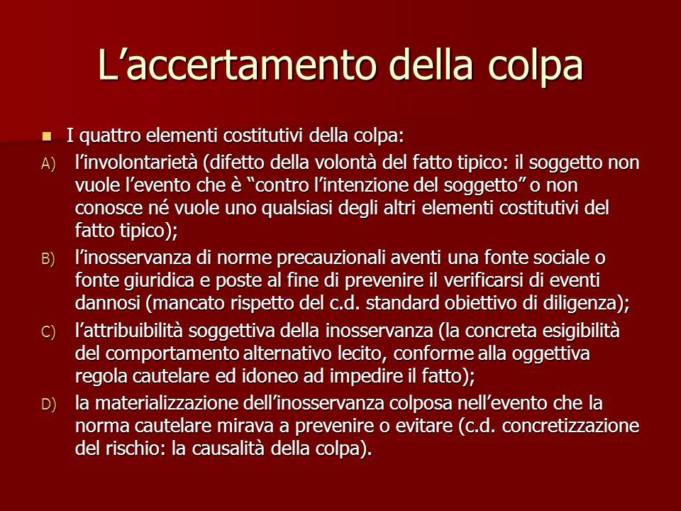 L'accertamento della colpa I quattro elementi costitutivi della colpa: I quattro elementi costitutivi della colpa: A) l'involontarietà (difetto della