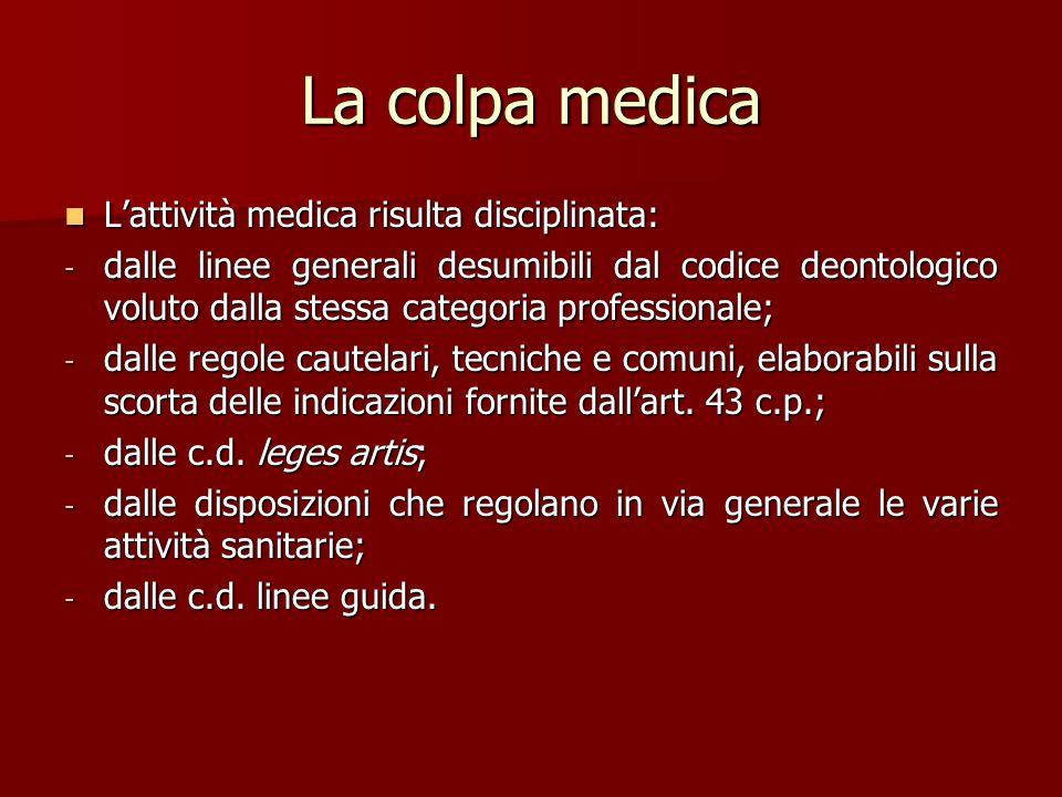La colpa medica L'attività medica risulta disciplinata: L'attività medica risulta disciplinata: - dalle linee generali desumibili dal codice deontolog