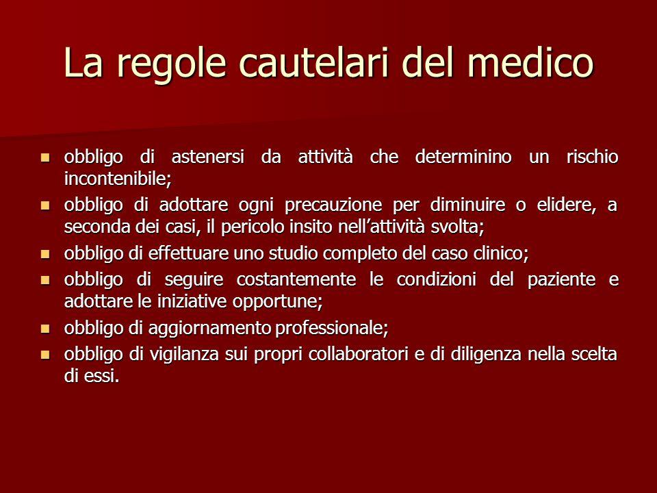 La regole cautelari del medico obbligo di astenersi da attività che determinino un rischio incontenibile; obbligo di astenersi da attività che determi