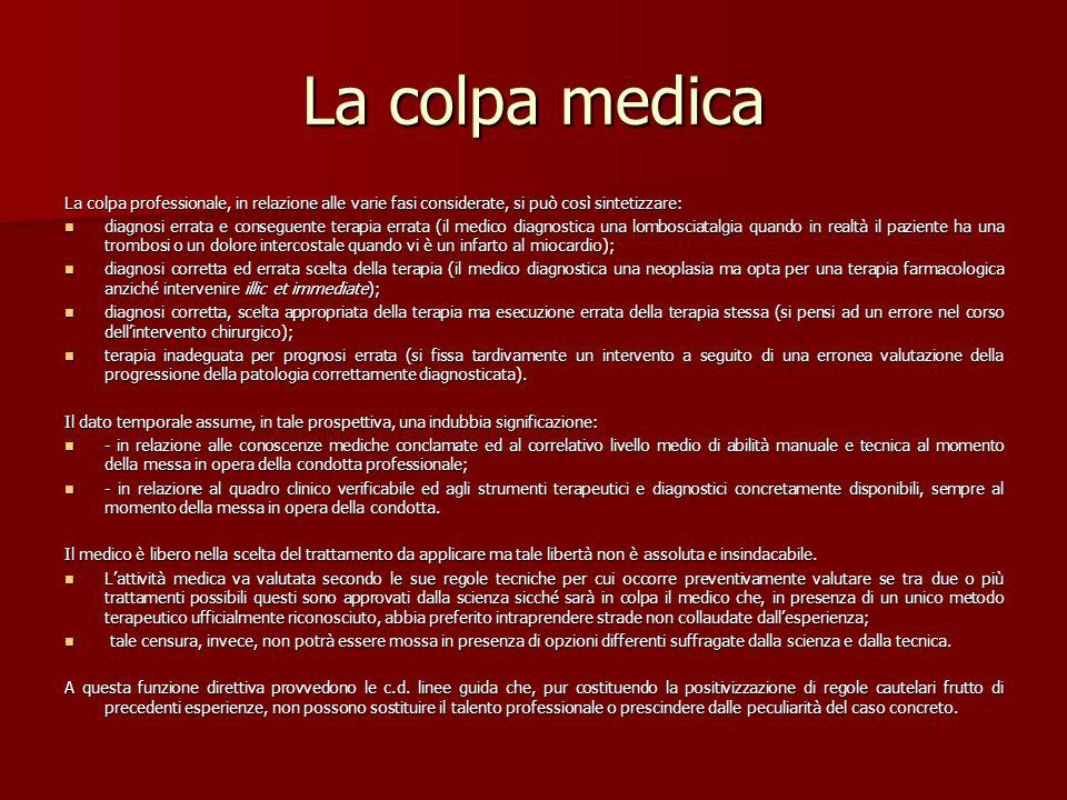 La colpa medica La colpa professionale, in relazione alle varie fasi considerate, si può così sintetizzare: diagnosi errata e conseguente terapia erra