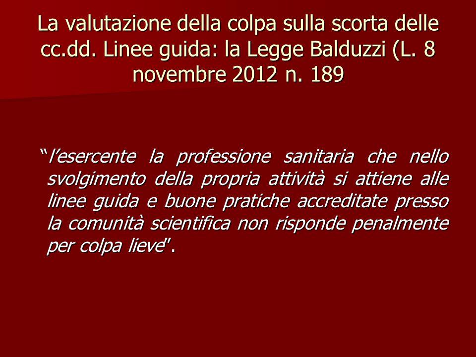 """La valutazione della colpa sulla scorta delle cc.dd. Linee guida: la Legge Balduzzi (L. 8 novembre 2012 n. 189 """"l'esercente la professione sanitaria c"""