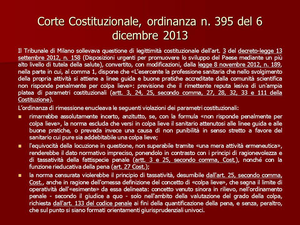 Corte Costituzionale, ordinanza n. 395 del 6 dicembre 2013 Il Tribunale di Milano sollevava questione di legittimità costituzionale dell'art. 3 del de