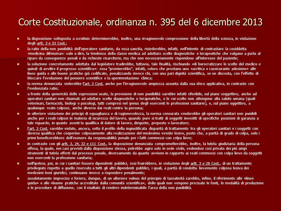 Corte Costituzionale, ordinanza n. 395 del 6 dicembre 2013 la disposizione sottoposta a scrutinio determinerebbe, inoltre, una irragionevole compressi