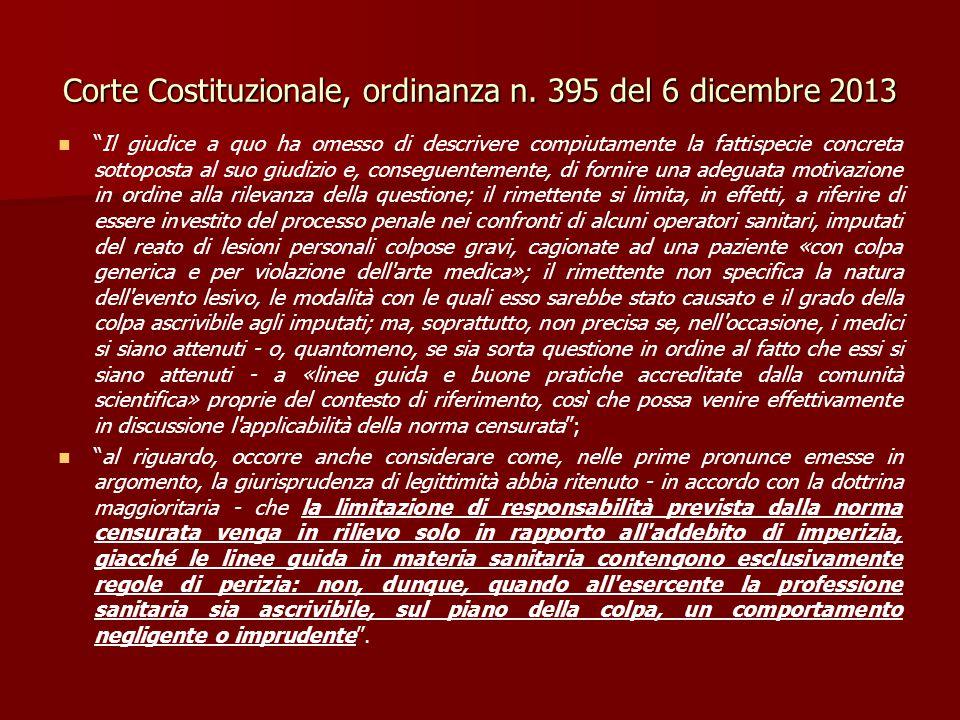 """Corte Costituzionale, ordinanza n. 395 del 6 dicembre 2013 """"Il giudice a quo ha omesso di descrivere compiutamente la fattispecie concreta sottoposta"""