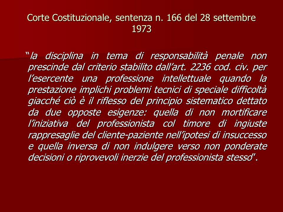 """Corte Costituzionale, sentenza n. 166 del 28 settembre 1973 """"la disciplina in tema di responsabilità penale non prescinde dal criterio stabilito dall'"""