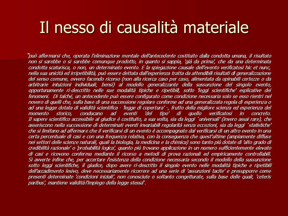 """Il nesso di causalità materiale """" può affermarsi che, operata l'eliminazione mentale dell'antecedente costituito dalla condotta umana, il risultato no"""