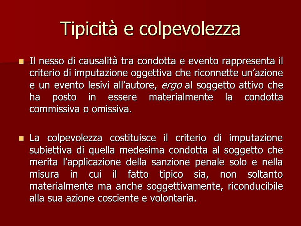 Tipicità e colpevolezza Il nesso di causalità tra condotta e evento rappresenta il criterio di imputazione oggettiva che riconnette un'azione e un eve