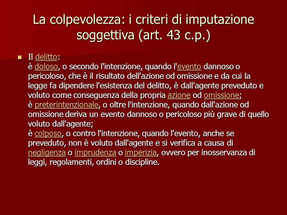 La colpevolezza: i criteri di imputazione soggettiva (art. 43 c.p.) Il delitto: è doloso, o secondo l'intenzione, quando l'evento dannoso o pericoloso