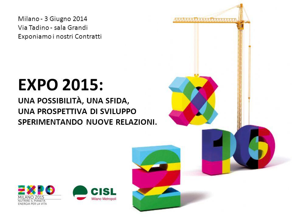 EXPO 2015: UNA POSSIBILITÀ, UNA SFIDA, UNA PROSPETTIVA DI SVILUPPO SPERIMENTANDO NUOVE RELAZIONI. Milano - 3 Giugno 2014 Via Tadino - sala Grandi Expo