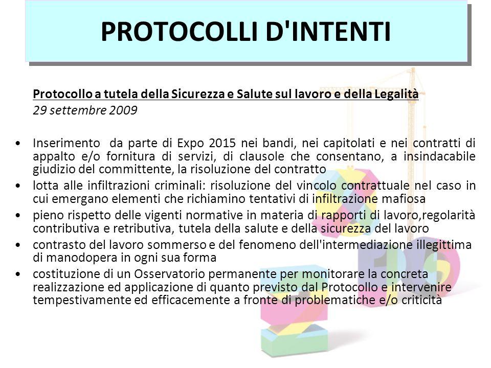 Protocollo a tutela della Sicurezza e Salute sul lavoro e della Legalità 29 settembre 2009 Inserimento da parte di Expo 2015 nei bandi, nei capitolati
