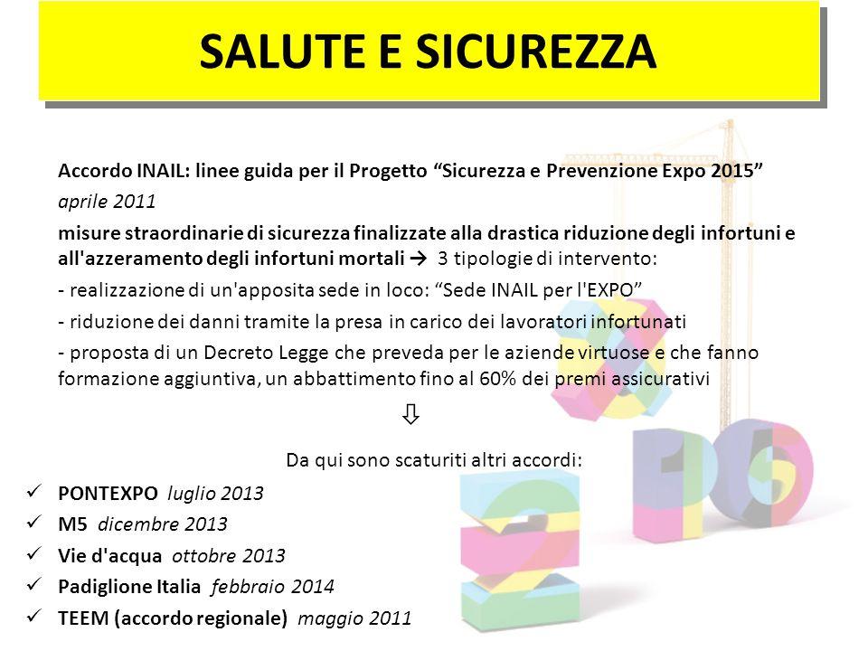 """Accordo INAIL: linee guida per il Progetto """"Sicurezza e Prevenzione Expo 2015"""" aprile 2011 misure straordinarie di sicurezza finalizzate alla drastica"""