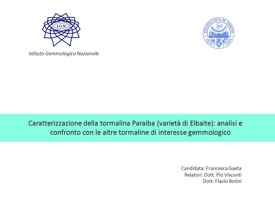 Caratterizzazione della tormalina Paraiba (varietà di Elbaite): analisi e confronto con le altre tormaline di interesse gemmologico Candidata: Frances