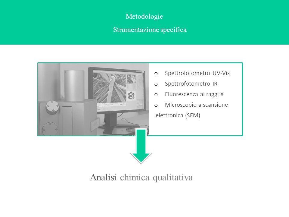 Metodologie Strumentazione specifica o Spettrofotometro UV-Vis o Spettrofotometro IR o Fluorescenza ai raggi X o Microscopio a scansione elettronica (
