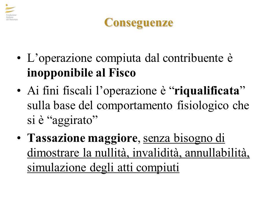 """Conseguenze L'operazione compiuta dal contribuente è inopponibile al Fisco Ai fini fiscali l'operazione è """"riqualificata"""" sulla base del comportamento"""