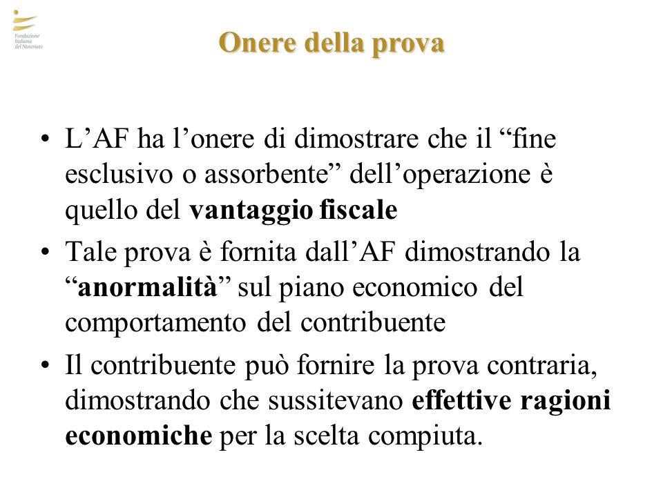 """Onere della prova L'AF ha l'onere di dimostrare che il """"fine esclusivo o assorbente"""" dell'operazione è quello del vantaggio fiscale Tale prova è forni"""